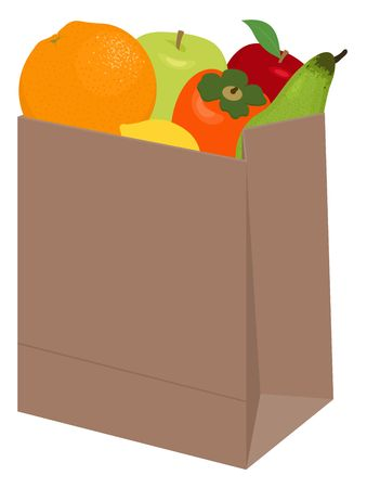 Paper bag of different health food on white background. Grocery in a paper bag and fruits in paper bag. Raster illustration.