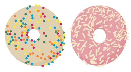 Donuts top view. Glazed donuts or doughnuts set, various colors and tastes. Vector illustration isolated on white background.