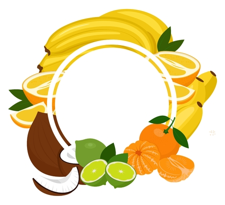 Fruits tropical background frame. Assorted fruits arranged in a circle on the white background, copy space for text in the middle. Raster illustration