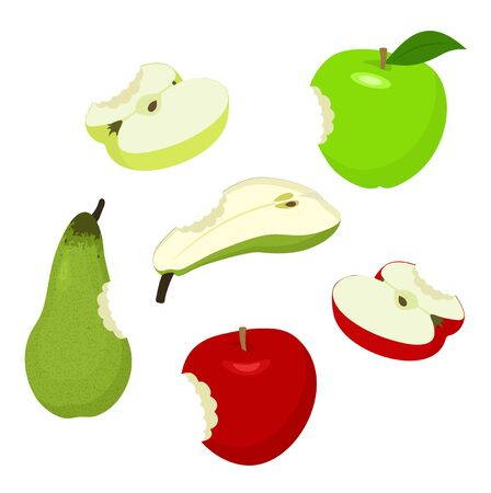 Apple and pear. Set of red, green, half, sliced, apples and pear. Raster illustration on white background.