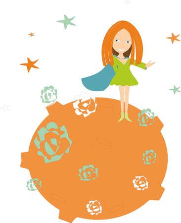supergirl: Supergirl in the fairytale orange world Illustration