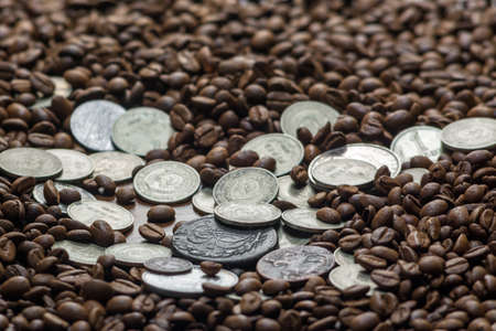 Soviet Union coins fall on coffee beans. Two dollars in silver. Charms and bark of the Mamvri oak. Washingtonia Leaflet. Flatley. Souvenirs on a dark background. Brown background Standard-Bild