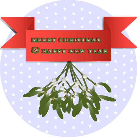 illustration of mistletoe for christmas and new year