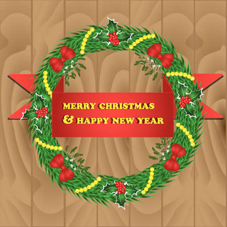 illustration of wreath for christmas and new year