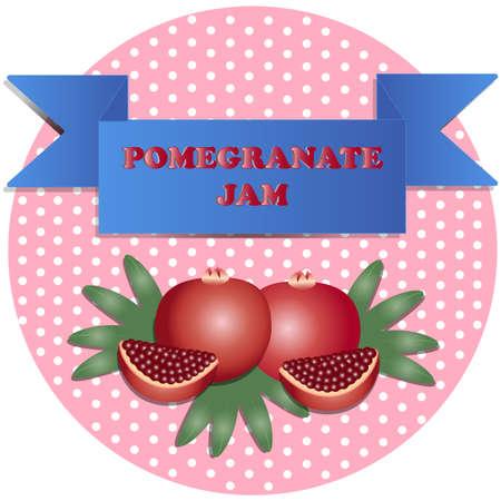 illustration of pomegranate jam stickers Çizim