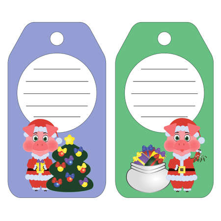 pig the symbol of the 2019 New year on the tag. Set of Christmas and New Year tags. Blank and as a gift for a present.