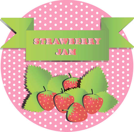 illustration of strawberry with pink background