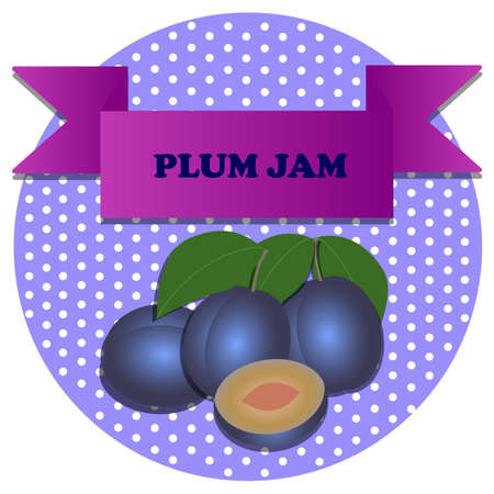 illustration of plum with blue background