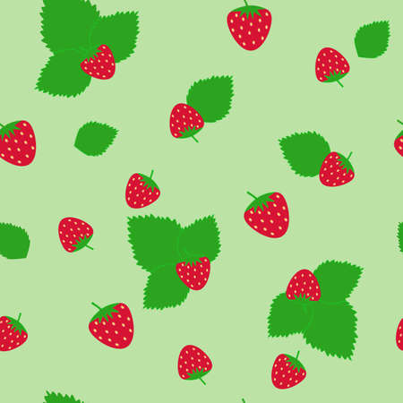 seamless pattern with strawberry and green background