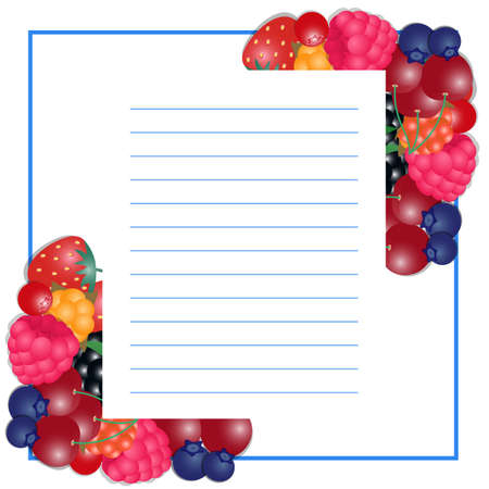 illustration of writing paper with berries Illustration