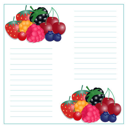 illustration of writing paper with berries for recipes