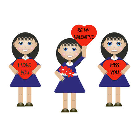 vector illustration of a girl with messages on Valentine s day