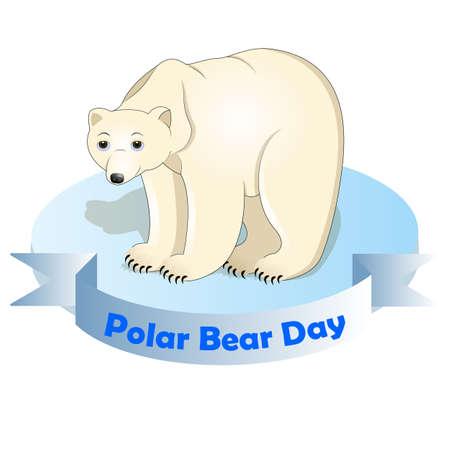 vector illustration of polar bear on an ice floe. International polar bear day. Banque d'images - 125560709