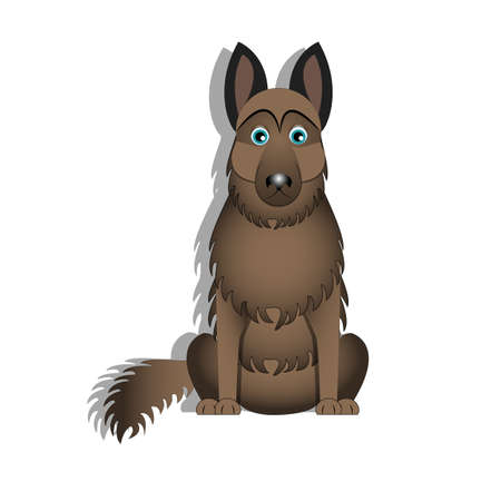 vector illustration of a cartoon cute German shepherd