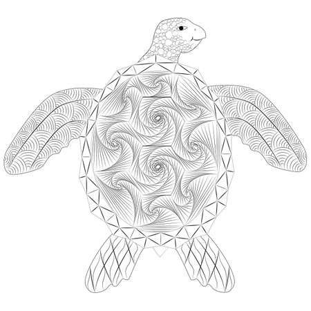 Turtle doodle, anti-stress coloring
