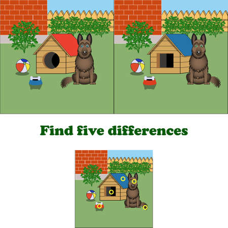 vector illustration find 5 differences in the picturewith the dog. Game for children.