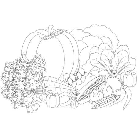 vector illustration of Doodle vegetables, anti-stress coloring of vegetables  イラスト・ベクター素材
