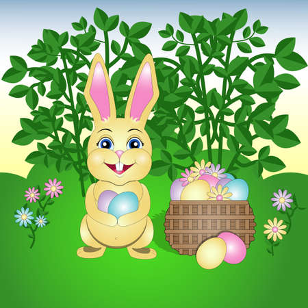 vector illustration of happy Easter with Easter Bunny and with basket of eggs  イラスト・ベクター素材