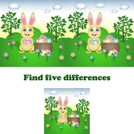 vector illustration of find the five differences with the Easter Bunny. Game for kids. Spot the difference.