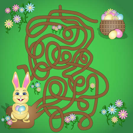 vector illustration is a fun maze game for kids. Help the Easter Bunny find his basket. Learning game.