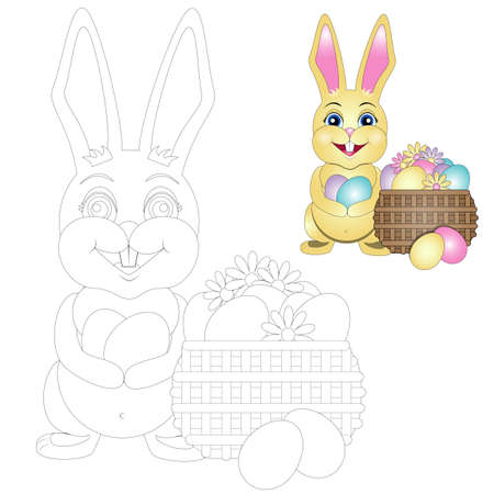 vector coloring Easter Bunny with a basket of Easter eggs. EPS 10 Illustration