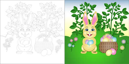 vector coloring Easter Bunny on the lawn with a basket of Easter eggs  イラスト・ベクター素材