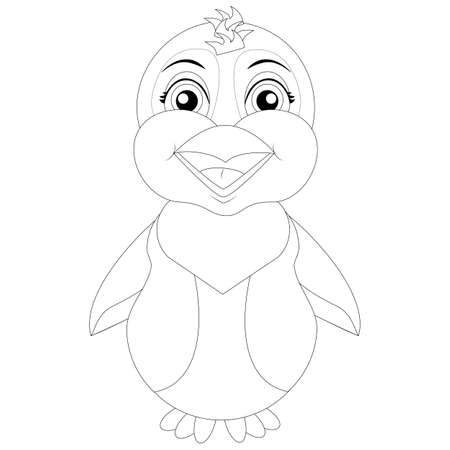 vector coloring page penguin for children
