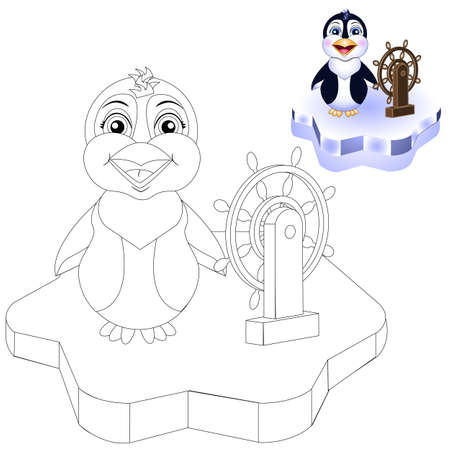 vector coloring page penguin on ice for kids  イラスト・ベクター素材