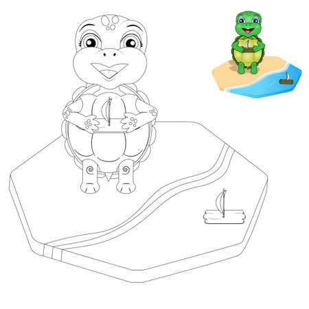vector turtle coloring page for kids 일러스트