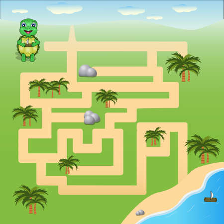 vector illustration is a fun maze game for kids. Help the turtle find the beach. Learning game.