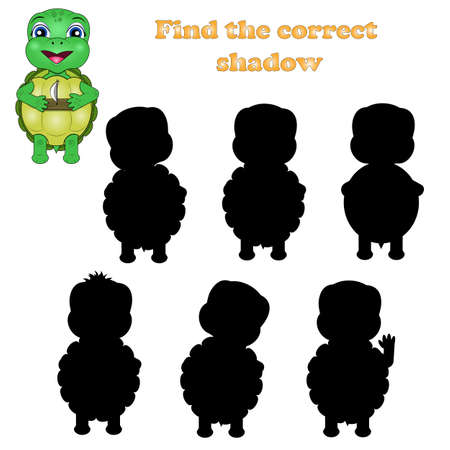 Shadow matching game for children. Find the right shadow. Activity for preschool kids with cute turtle