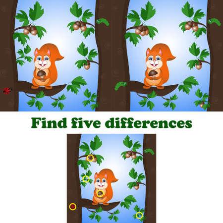 vector illustration find five differences with the squirrel Ilustração