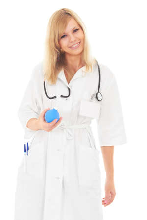 Cute young doctor woman with blue clyster looking and smiling at camera isolated on white photo