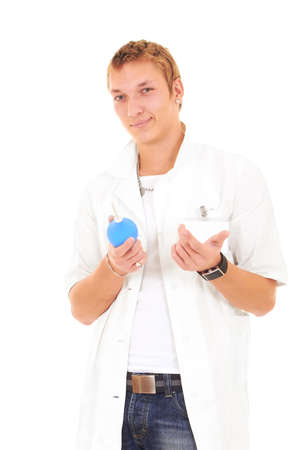 beckon: Cute young doctor man fashionable looks in a uniform Stock Photo