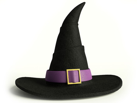 3d illustration of a witch hat Stock Photo