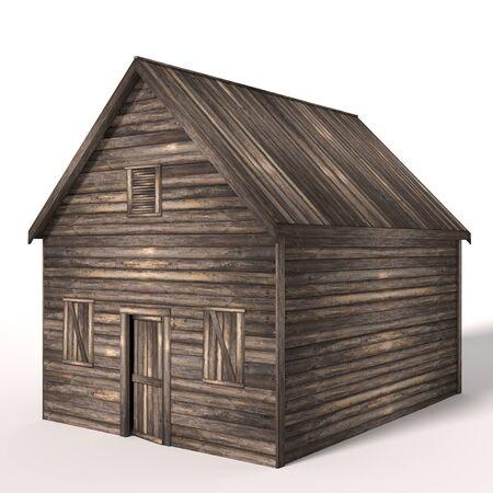 3d illustration of an old wood shed