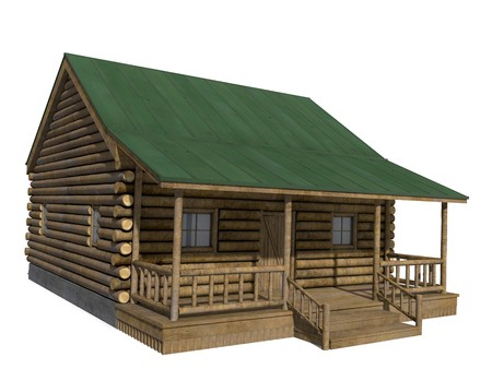 log cabin winter: 3d illustration of a log cabin