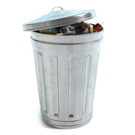 3d illustration of a trash can