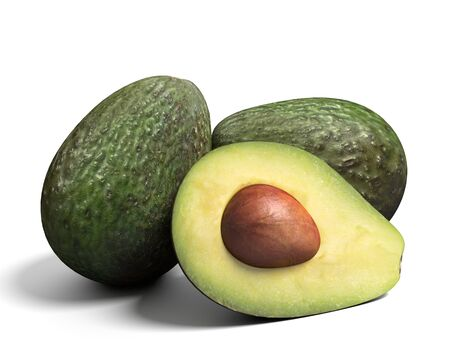 3d illustration of avocados 免版税图像