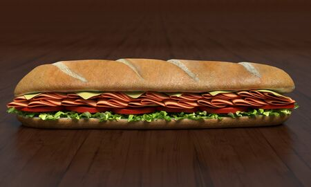 3d illustration of a sub sandwich 免版税图像