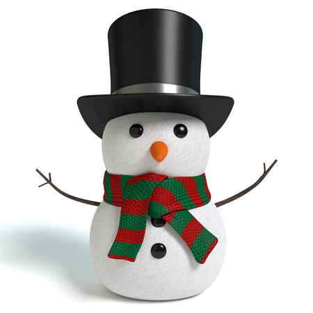 3d illustration of a snowman 免版税图像