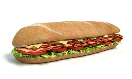 3d illustration of a sub sandwich Imagens