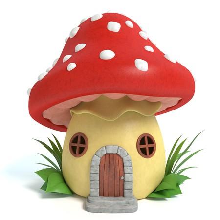 3d illustration of a mushroom house Imagens