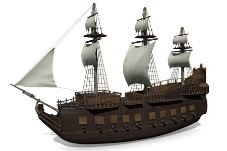 3d sail boat: 3d illustration of a medieval ship Stock Photo