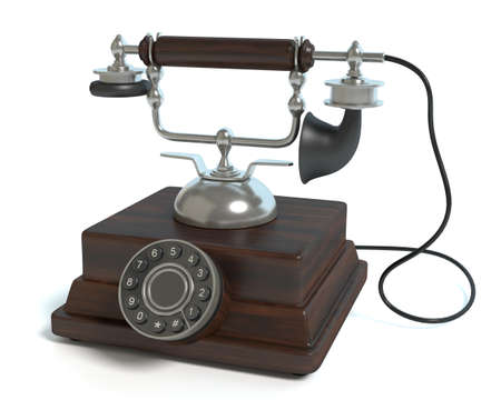 3d illustration of an old phone Imagens
