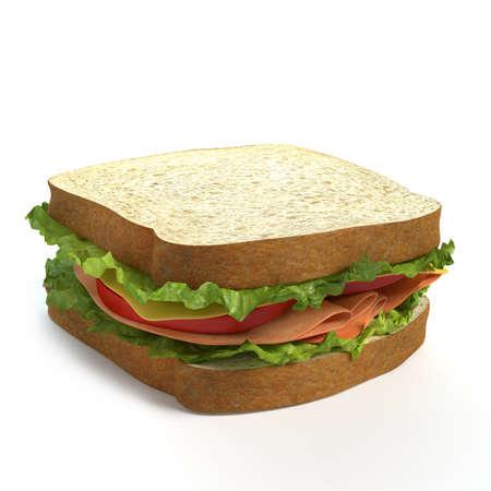 3d illustration of a sandwich