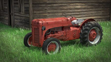 3d illustration of an old rusty tractor Imagens