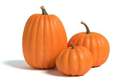 3d illustration of pumpkins