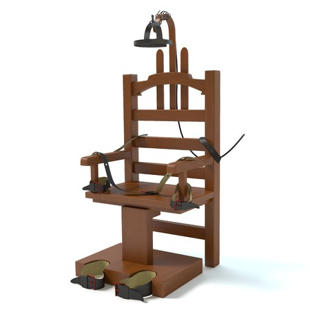capital punishment: 3d illustration of an electric chair Stock Photo