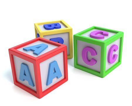 3d illustration of alphabet blocks